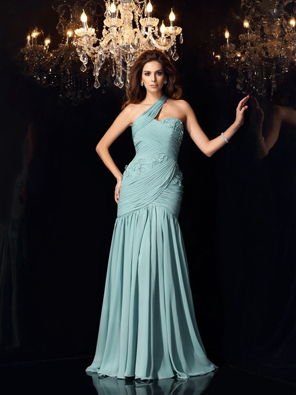 Trumpet/Mermaid One-Shoulder Sweep/Brush Train Chiffon Dresses