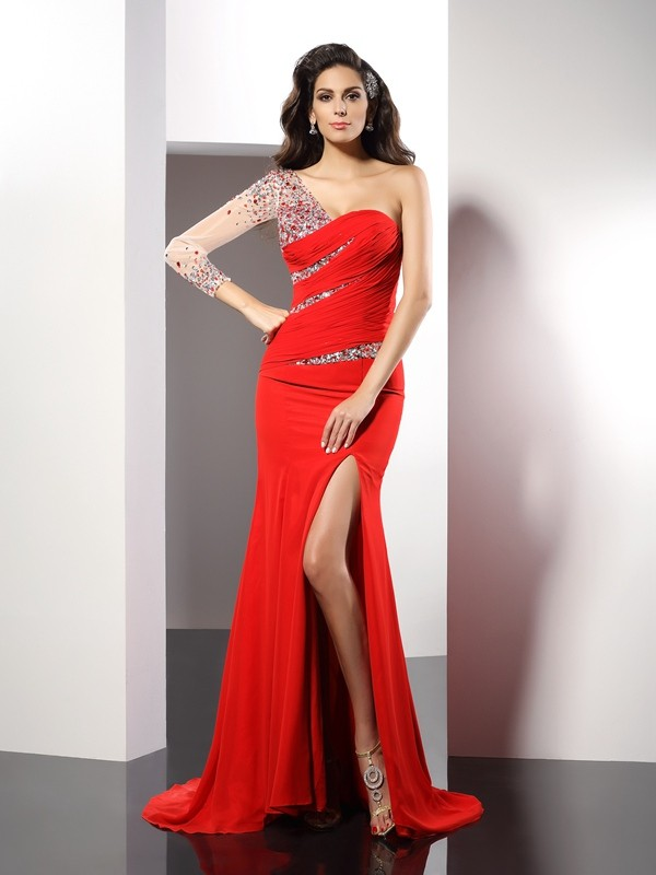 Sheath/Column One-Shoulder Beading 3/4 Sleeves Sweep/Brush Train Chiffon Gowns