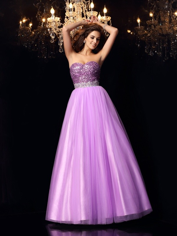 Ball Gown Sweetheart Sequin Elastic Woven Satin Floor-Length Dresses