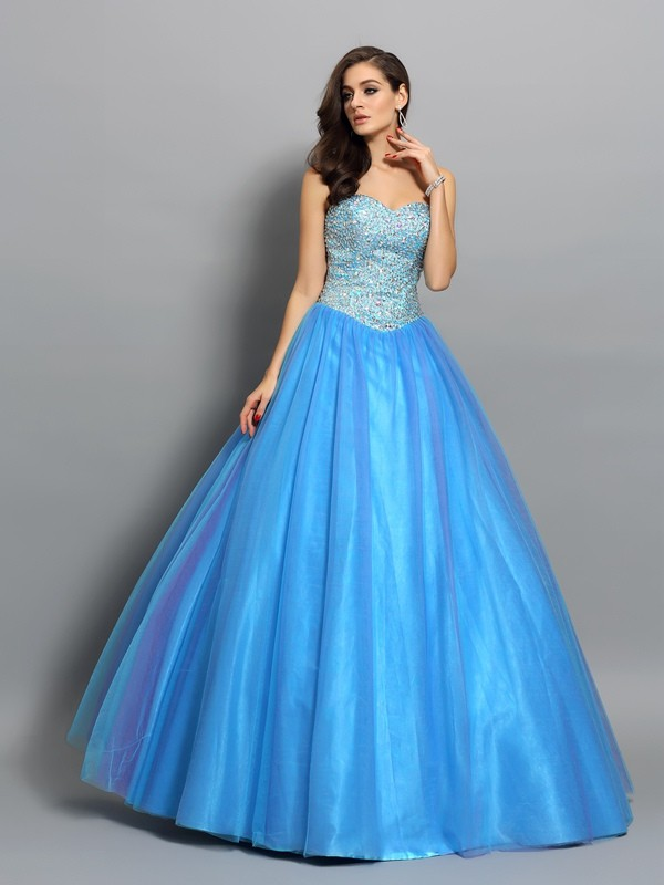 Ball Gown Elastic Woven Satin Sweetheart Floor-Length Beading Dresses