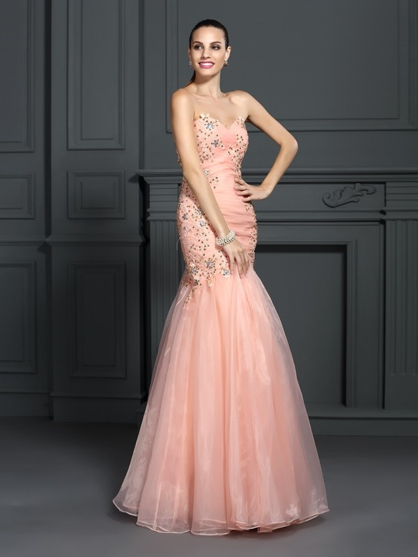Trumpet/Mermaid Sweetheart Sleeveless Floor-Length Organza Dresses