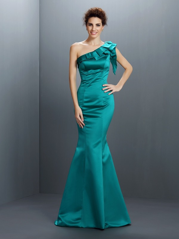 Trumpet/Mermaid One-Shoulder Sleeveless Floor-Length Satin Gowns