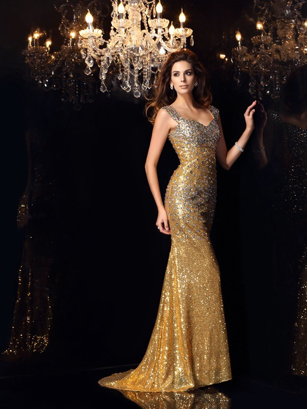 Trumpet/Mermaid Straps Sequins Floor-Length Rhinestone Dresses