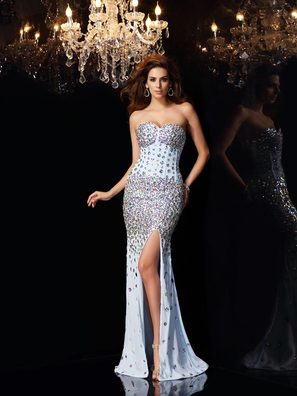 Trumpet/Mermaid Sweetheart Sweep/Brush Train Chiffon Rhinestone Dresses