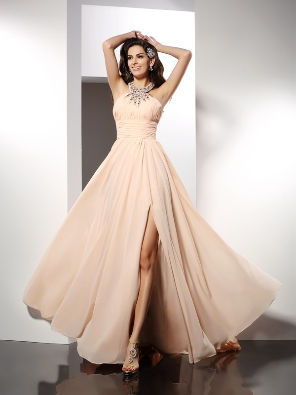 A-Line Jewel Sleeveless Ruffles Sweep/Brush Train Chiffon Dresses