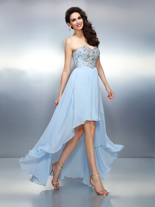 A-Line/Princess Sweetheart Sleeveless Ruffles Asymmetrical Chiffon Dress
