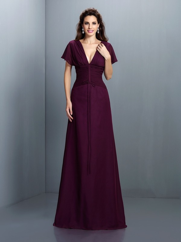 A-Line/Princess V-neck Short Sleeves Ruched Floor-Length Chiffon Gowns