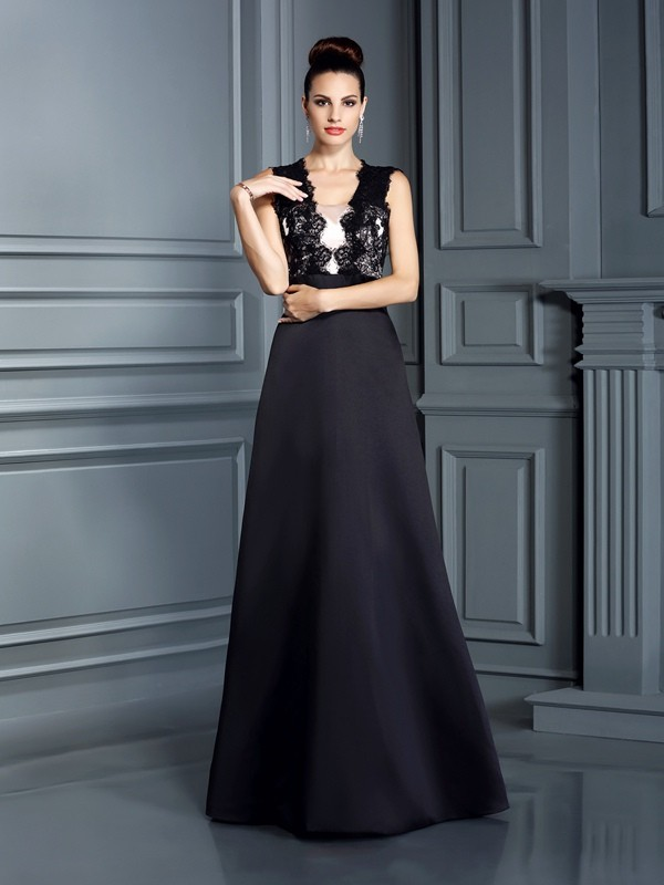 A-Line/Princess Straps Lace Floor-Length Satin Dresses