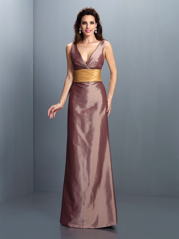 Sheath/Column V-neck Sleeveless Pleats Floor-Length Taffeta Gowns