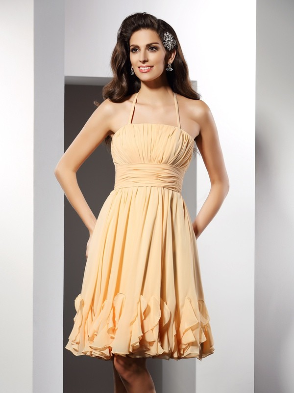 A-Line/Princess Halter Sleeveless Ruffles Knee-Length Chiffon Gowns
