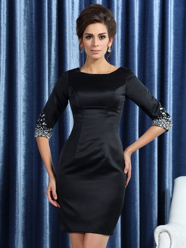 Sheath/Column Square 1/2 Sleeves Satin Short/Mini Beading Mother of the Bride Gowns