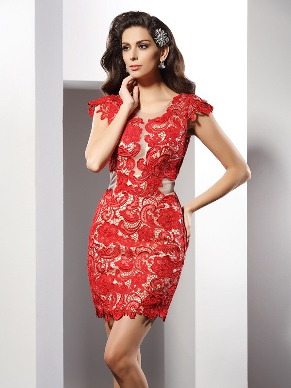 Sheath/Column Scoop Sleeveless Short/Mini Lace Elastic Woven Satin Gowns