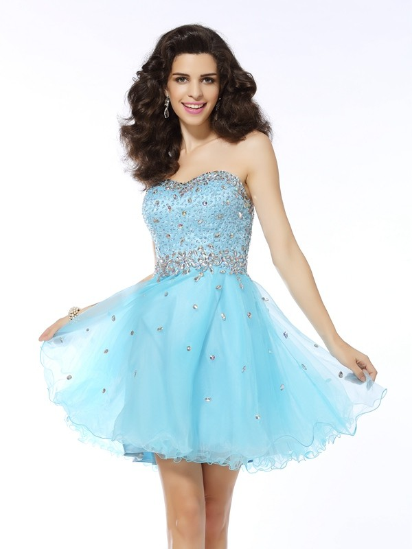 A-Line/Princess Sweetheart Sleeveless Ruffles Mini Organza Gowns