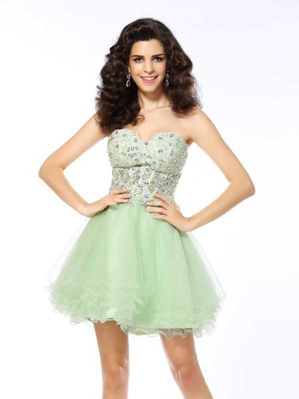Sweetheart A-Line/Princess Sleeveless Short/Mini Ruffles Satin Gowns