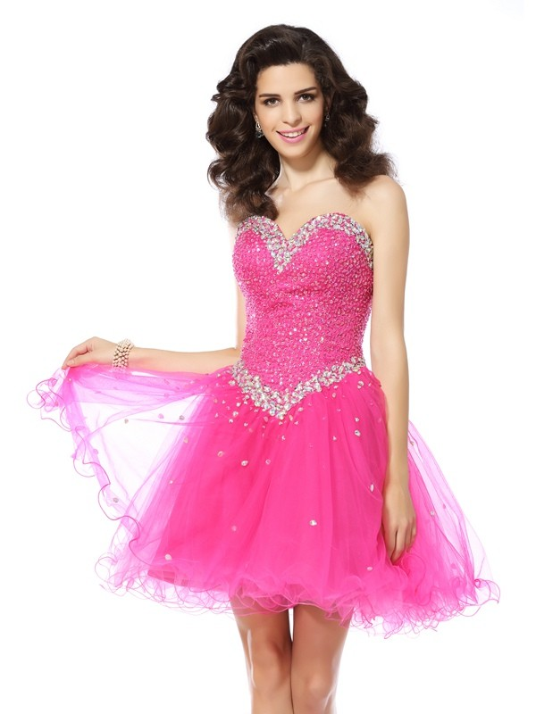 A-Line/Princess Sweetheart Beading Sleeveless Short/Mini Satin Gowns