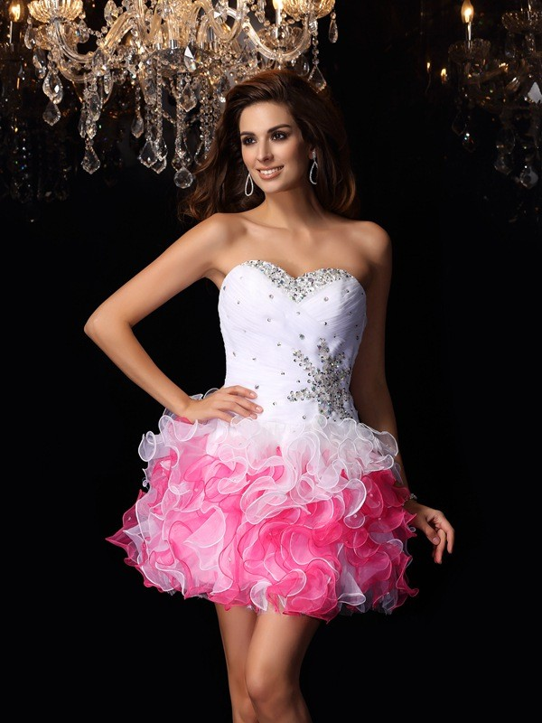 A-Line/Princess Sweetheart Organza Sleeveless Ruffles Short/Mini Gowns