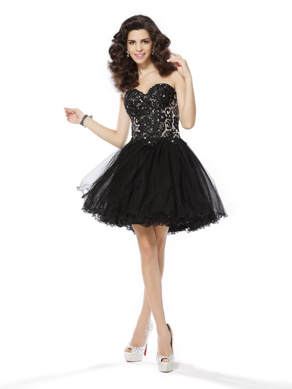 A-Line/Princess Net Sweetheart Sleeveless Short/Mini Ruffles Gowns