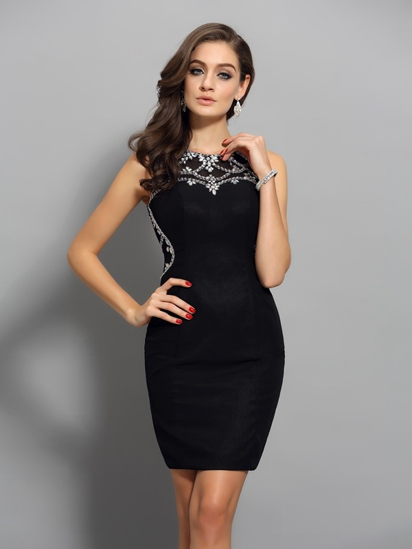 Sheath/Column Sleeveless Chiffon Scoop Beading Short/Mini Gowns