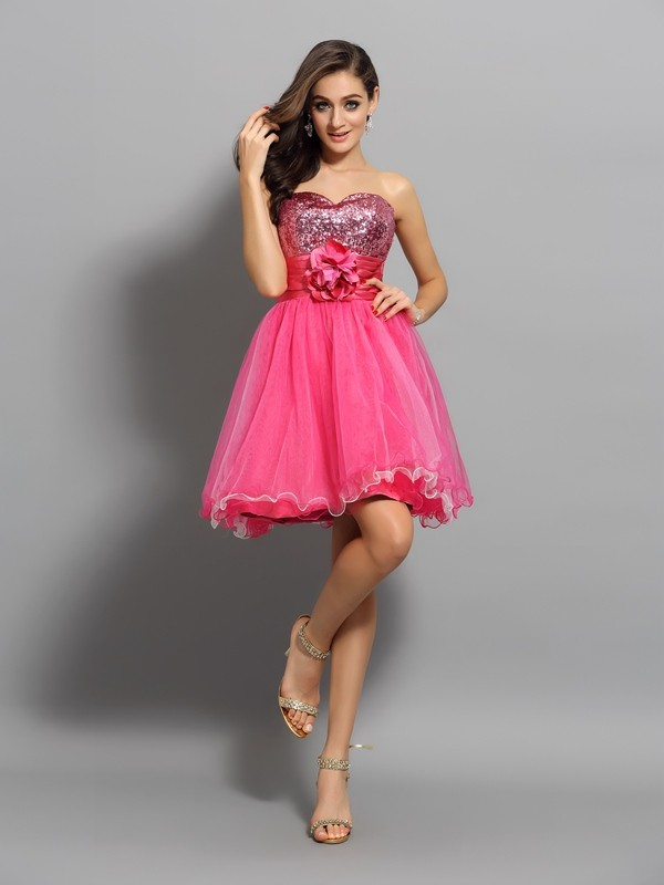 A-Line/Princess Net Sleeveless Sweetheart Ruffles Short/Mini Gowns