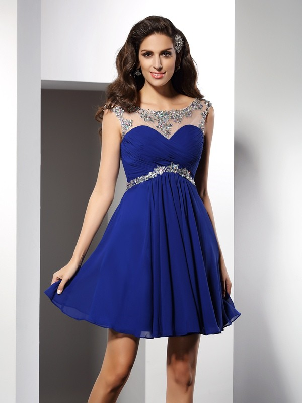 A-Line/Princess Scoop Sleeveless Beading Mini Chiffon Gowns