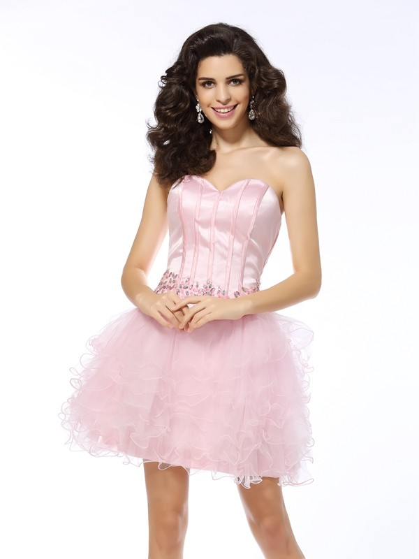 A-Line/Princess Sleeveless Short/Mini Net Sweetheart Ruffles Gowns