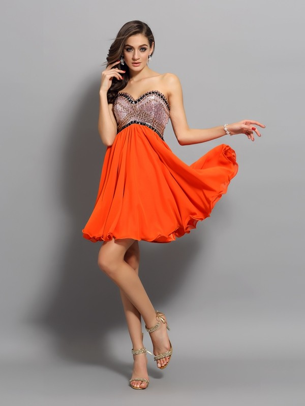 A-Line/Princess Sweetheart Chiffon Ruffles Sleeveless Short/Mini Gowns
