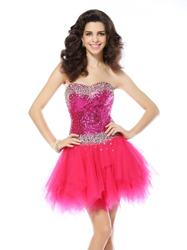 A-Line/Princess Sweetheart Beading Sleeveless Short/Mini Net Gowns