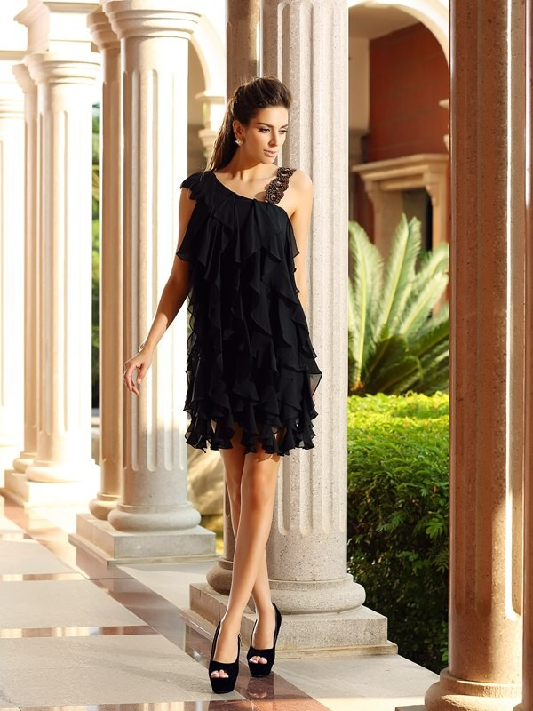 A-Line/Princess Sleeveless Chiffon Short/Mini Ruffles Gowns