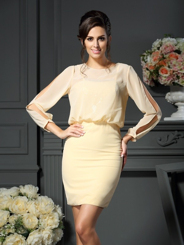 Sheath/Column Long Sleeves Scoop Short/Mini Chiffon Mother of the Bride Gowns