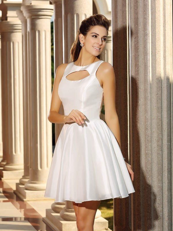 A-Line/Princess Sleeveless High Neck Short/Mini Satin Gowns