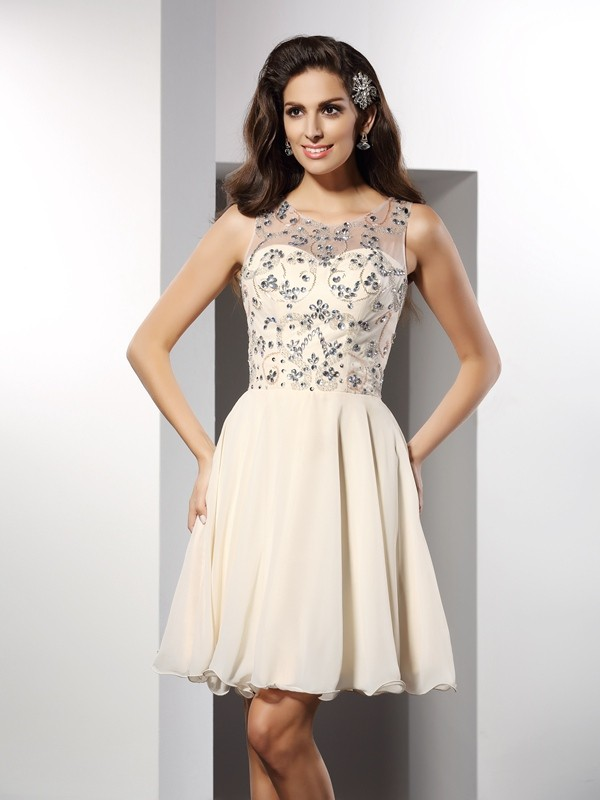 A-Line/Princess Bateau Sleeveless Beading Short/Mini Chiffon Gowns