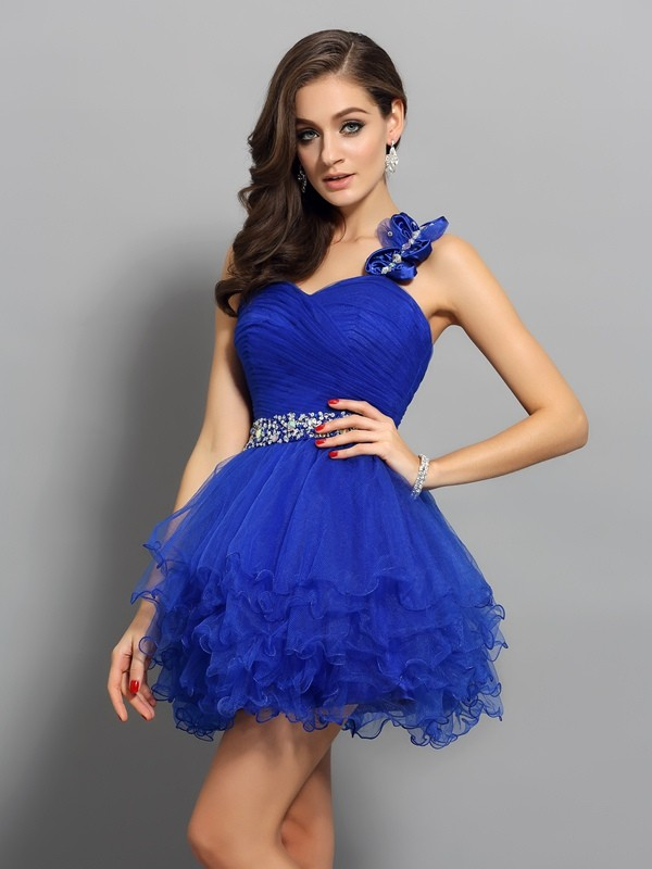 A-Line/Princess One-Shoulder Organza Sleeveless Short/Mini Beading Gowns