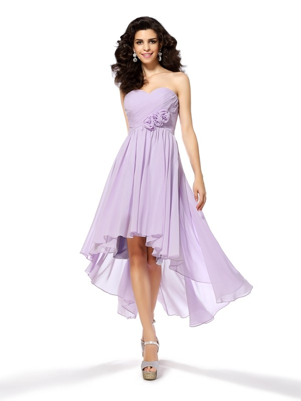 A-Line/Princess Sleeveless Sweetheart Chiffon Asymmetrical Hand-Made Flower Gowns