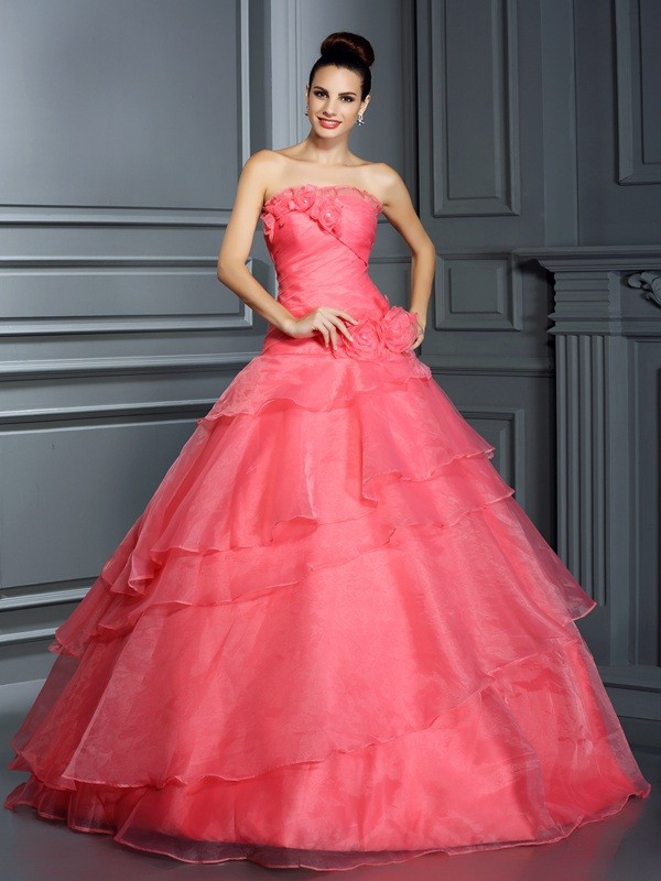 Ball Gown Strapless Hand-Made Flower Floor-Length Organza Quinceanera Dresses