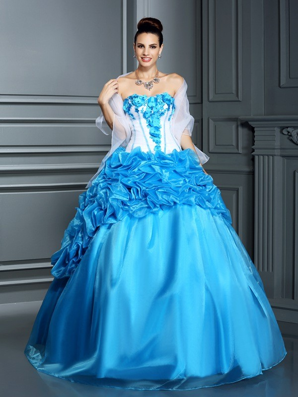 Ball Gown Sweetheart Ruffles Floor-Length Satin Quinceanera Dresses