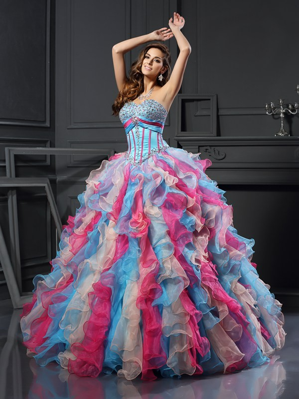 Ball Gown Sweetheart Organza Beading Floor-Length Dresses