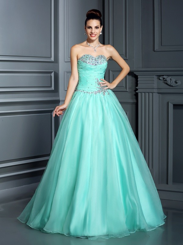 Ball Gown Sweetheart Beading Long Organza Quinceanera Dresses