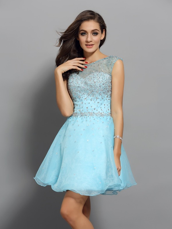 Scoop A-Line/Princess Sleeveless Organza Short/Mini Beading Gowns