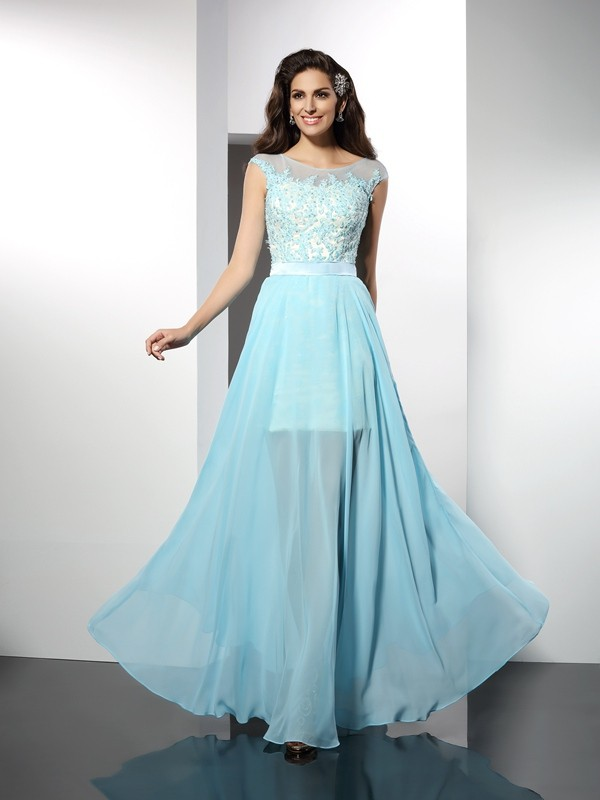 Bateau Sleeveless Applique Floor-Length Chiffon Gowns