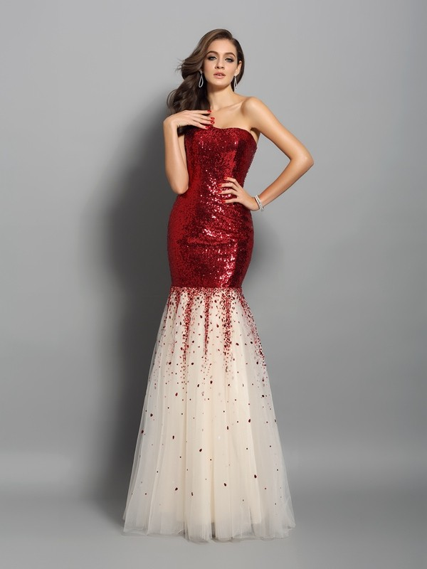 Trumpet/Mermaid One-Shoulder Sequins Floor-Length Dresses