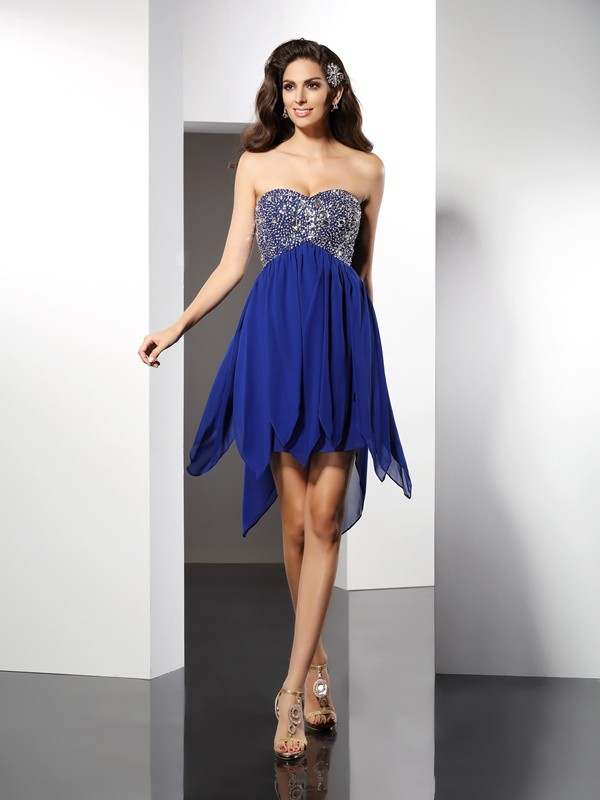 A-Line/Princess Sweetheart Sleeveless Beading Short/Mini Chiffon Gowns
