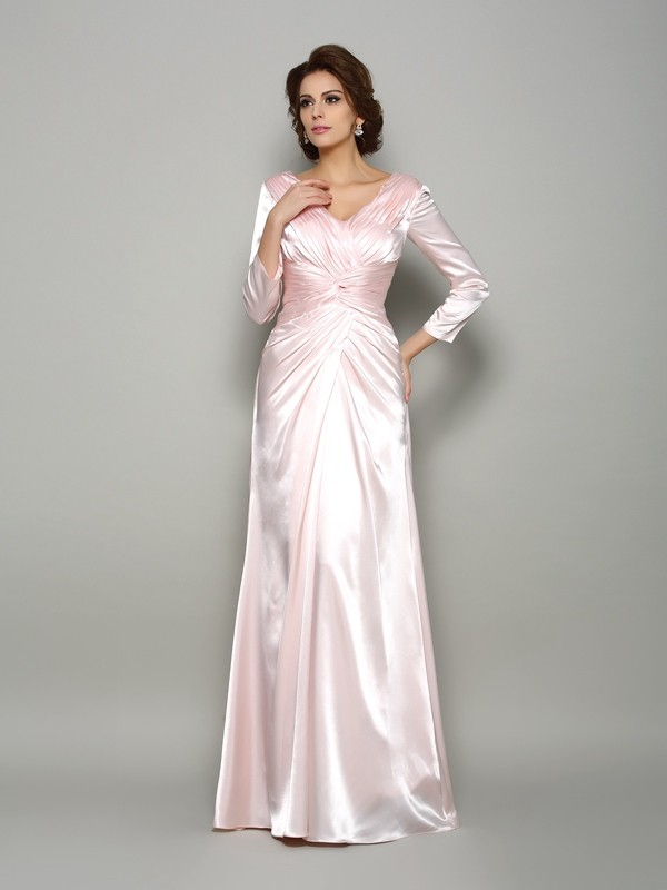 A-Line/Princess Long Sleeves V-neck Silk like Satin Floor-Length Ruched Mother of the Bride Gowns