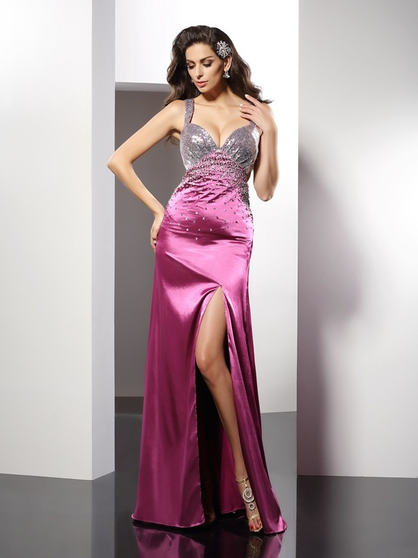 A-Line/Princess Straps Beading Sleeveless Floor-Length Elastic Woven Satin Gowns