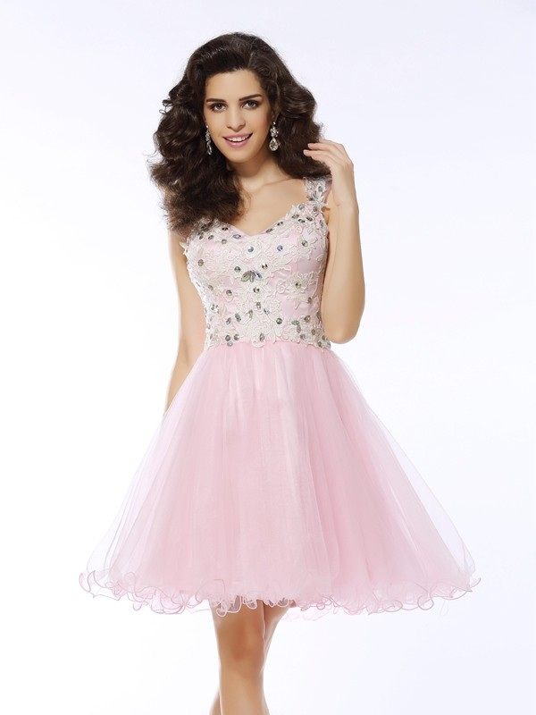 V-neck A-Line/Princess Sleeveless Satin Applique Short/Mini Gowns
