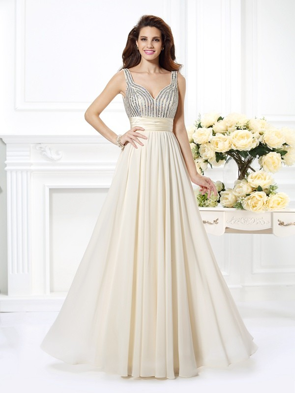 Straps Princess Sleeveless Beading Floor-Length Dresses