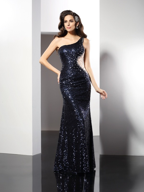 Sheath/Column One-Shoulder Sequin Sleeveless Floor-Length Sequins Gowns
