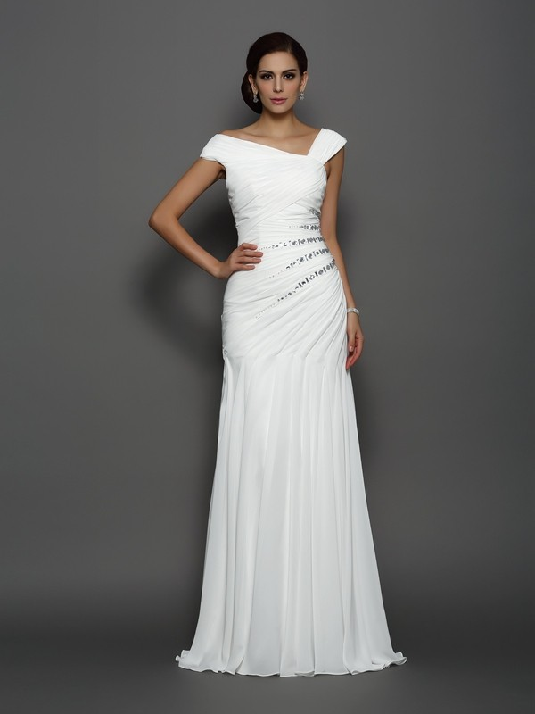 Trumpet/Mermaid Sleeveless Chiffon Beading Sweep/Brush Train Gowns