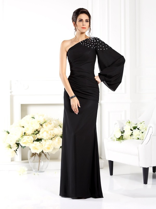 Sheath/Column One-Shoulder Long Sleeves Beading Floor-Length Chiffon Gowns