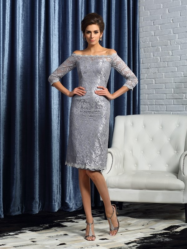 Sheath/Column Off-the-Shoulder Satin 1/2 Sleeves Knee-Length Lace Mother of the Bride Gowns