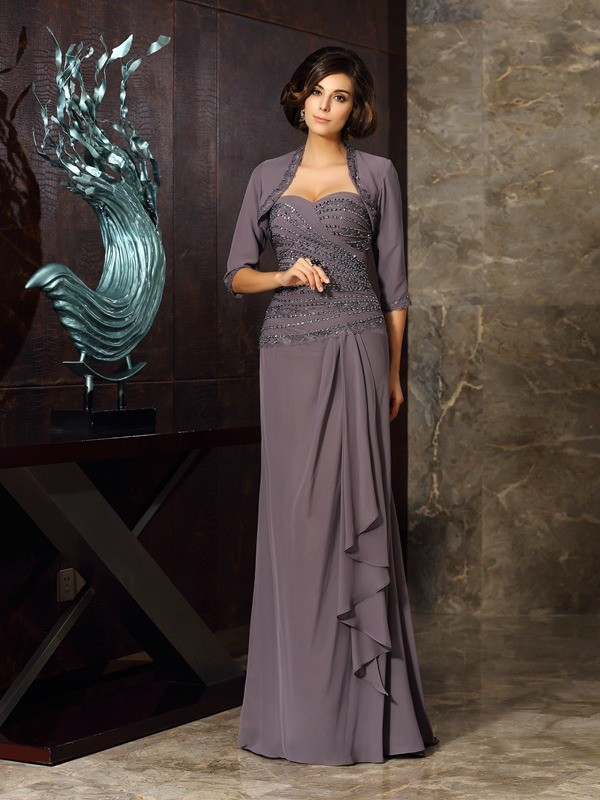 Sheath/Column Sleeveless Chiffon Sweetheart Floor-Length Beading Applique Mother of the Bride Gowns